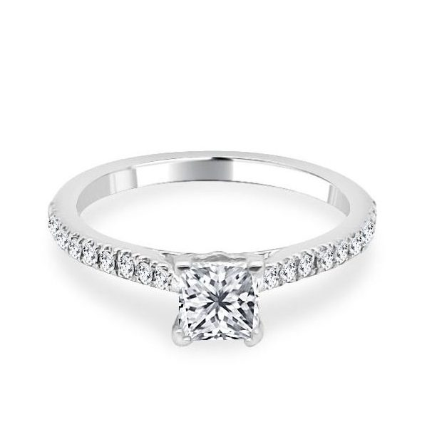 Image of Melanie Princess Cut diamond shoulder engagement ring