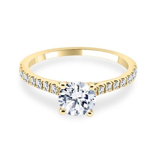 4 Claw Lotus Diamond Shoulder Gold Engagement Ring flat