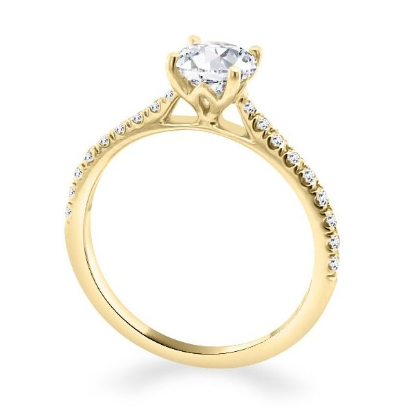 4 Claw Lotus Diamond Shoulder gold Engagement Ring standing