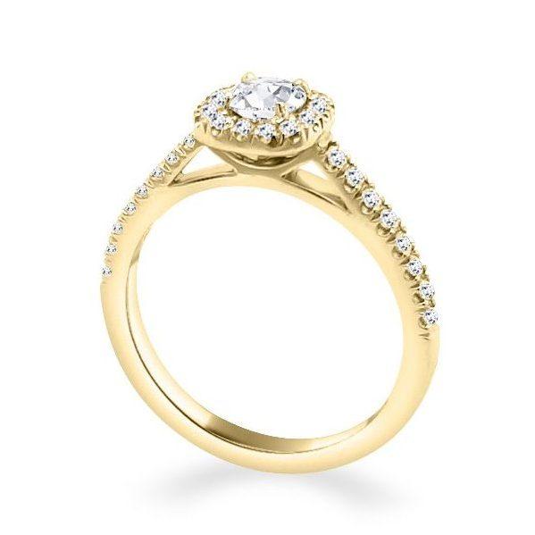 Anna Diamond Shoulder Engagement Ring Gold Standing