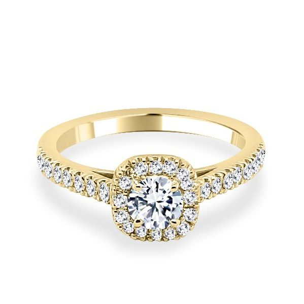 Anna Diamond Shoulder Engagement Ring Gold - flat