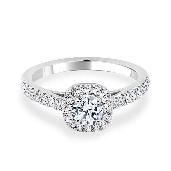 Anna Diamond Shoulder Engagement Ring flat white