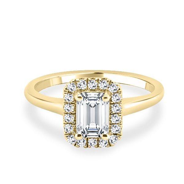 Belle Emerald Halo Gold Diamond Shoulder Engagement Ring flat