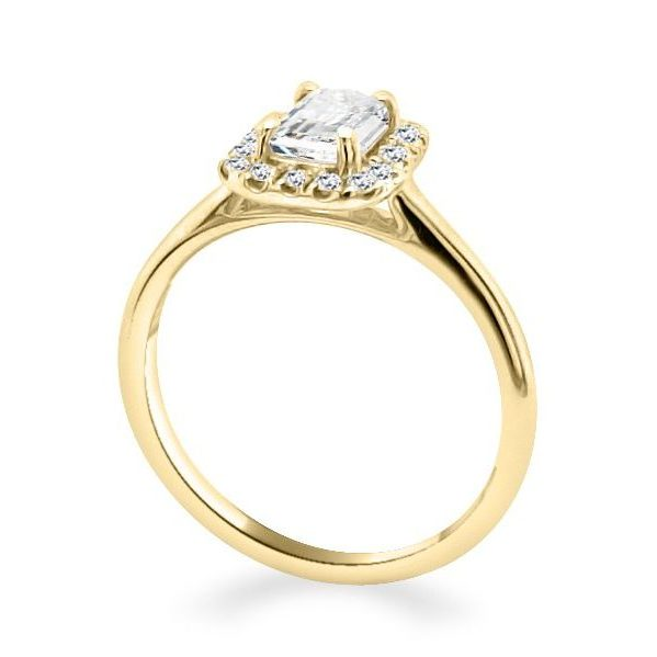 Belle-Emerald-Halo-Gold-Diamond-Shoulder-Engagement-Ring-standing