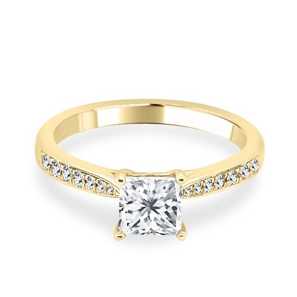 Davina Princess cut Diamond Shoulder Engagement Ring Gold flat