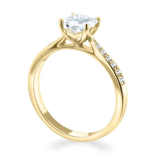 Davina Princess cut Diamond Shoulder Engagement Ring Gold standing