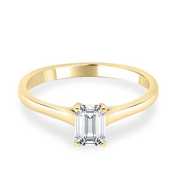 Ella Diamond Emerald Solitaire Engagement Ring Gold flat