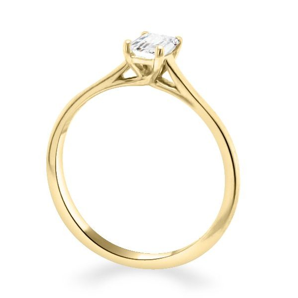 Ella Diamond Emerald Solitaire Engagement Ring gold standing