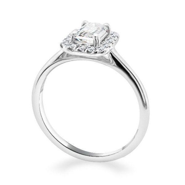 Emerald Halo Diamond Shoulder Ring Belle