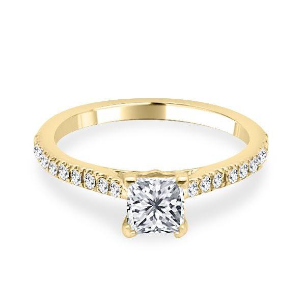 Image of Melanie Princess Cut diamond shoulder engagement ring in gold