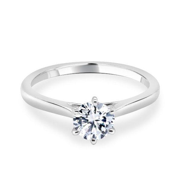 6 Claw Lotus Diamond Engagement Ring - Hattie flat