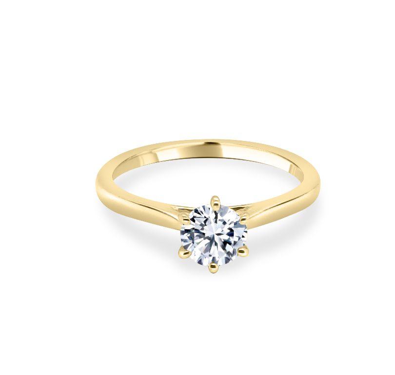 Hattie 6 Claw Lotus Gold Diamond Solitaire engagement ring