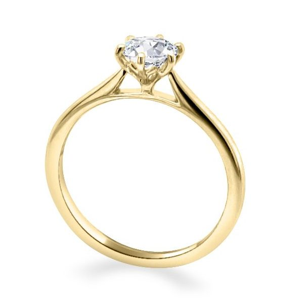 Hattie 6 Claw Lotus Gold Diamond Solitaire engagement ring standing