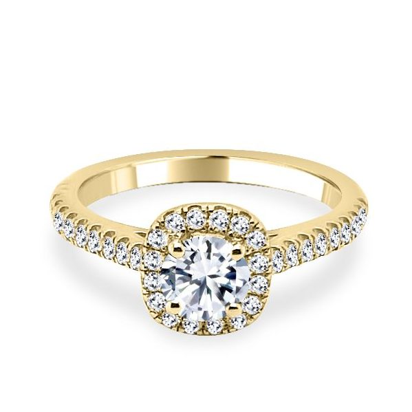 Reanne Round Diamond Shoulder Engagement Ring gold Flat