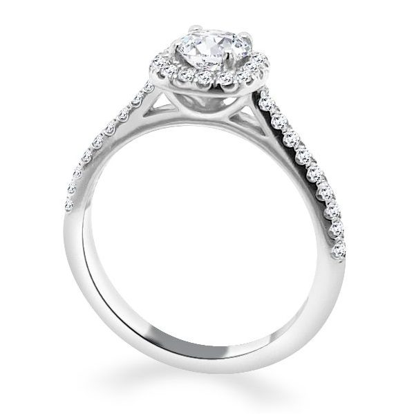 Reanne Round Diamond Shoulder Engagement Ring standing