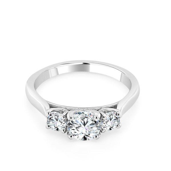 Nadine Diamond trilogy engagement ring platinum