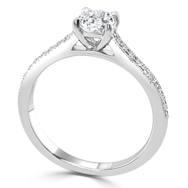 image of Iva Diamond Shoulder Engagement Ring standing