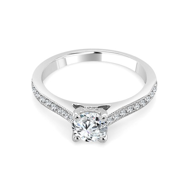 Iva Diamond shoulder engagement ring platinum