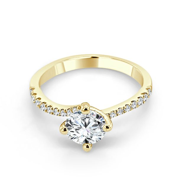 Sandra Diamond shoulder engagement ring gold