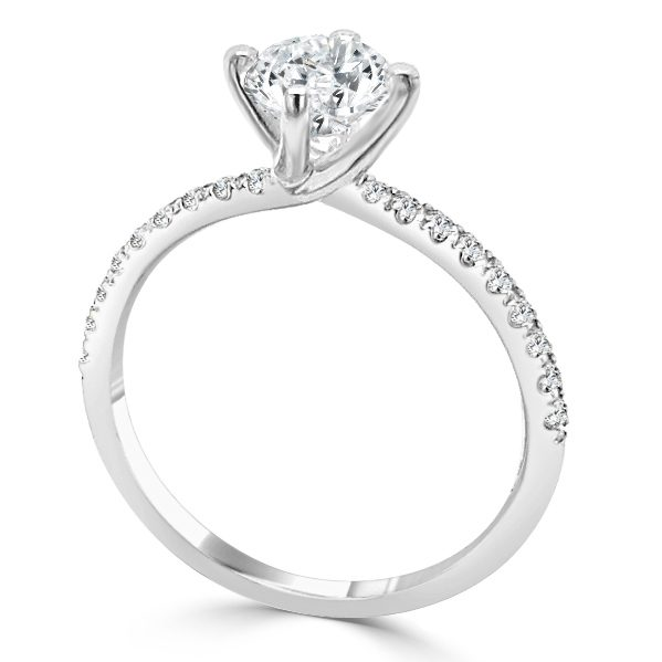 Image of Trinity Diamond Shoulder Engagement ring standing