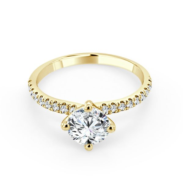 Trinity Diamond shoulder engagement ring gold
