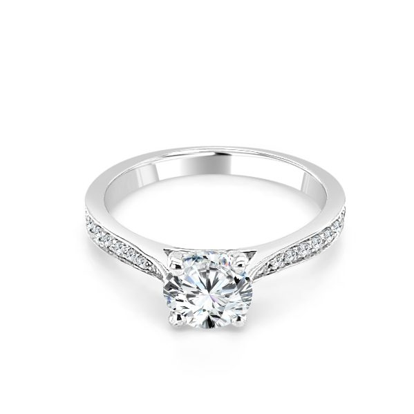 Yvonne Diamond shoulder engagement ring platinum