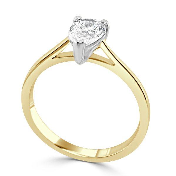 Zura Diamond shoulder engagement ring Gold