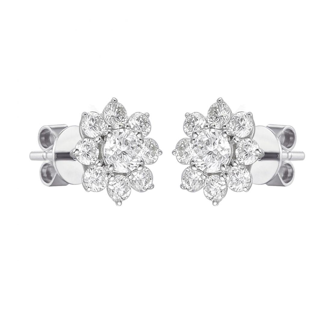 Diamond Flower set White gold earrings