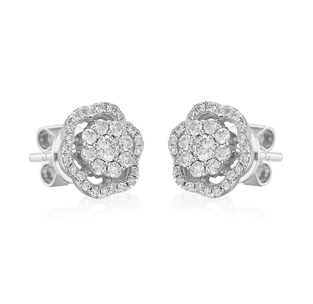 Diamond Microset flower halo earring