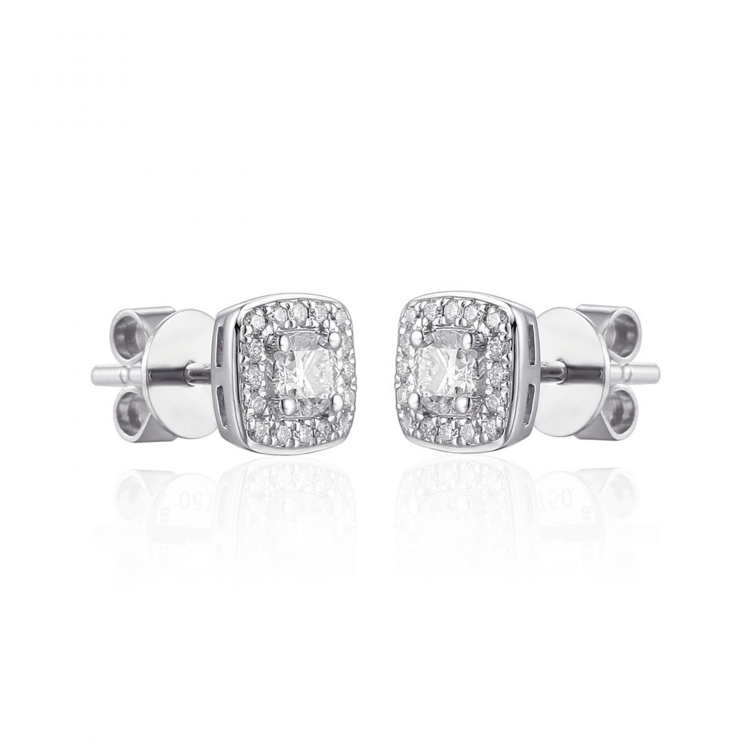 Diamond Microset white gold earring diamond centre