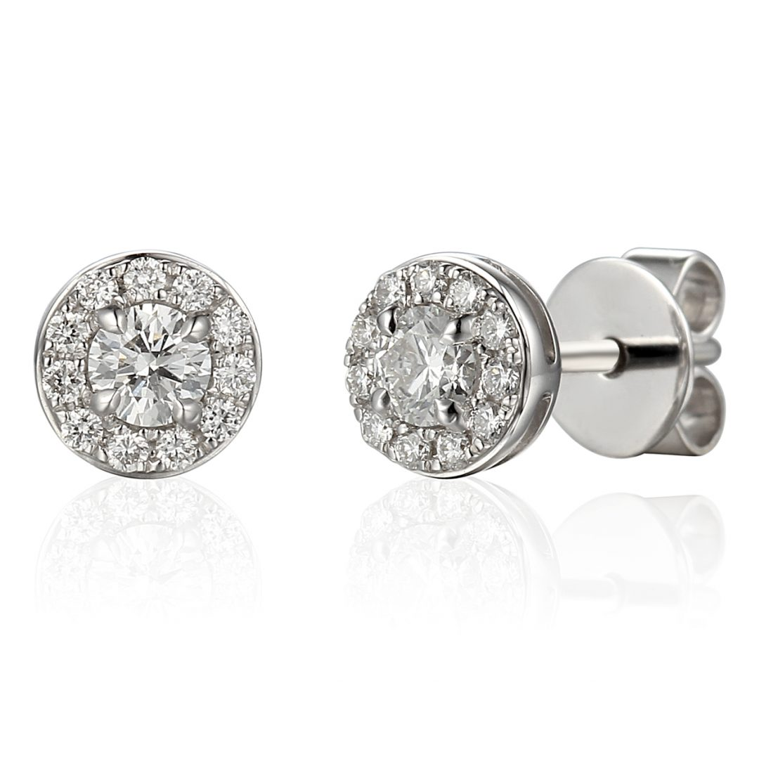 Diamond-stud-cluster-earrings-white-gold