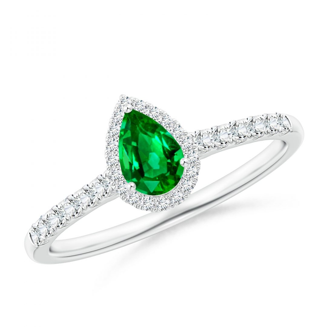 image of Diamond Emerald Pear shape Halo Engagement Ring