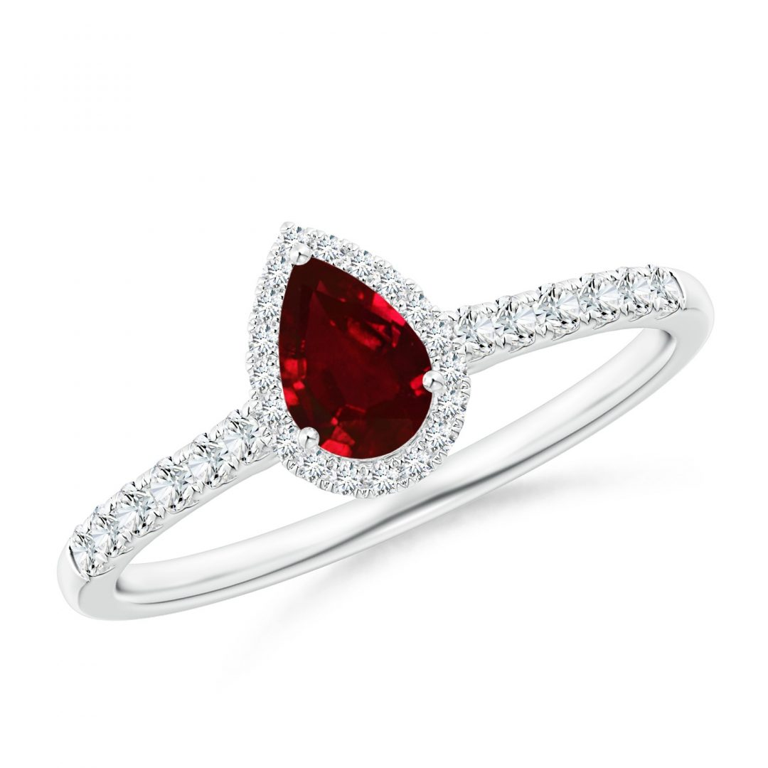Image of Diamond Ruby Pear shape Halo Engagement Ring
