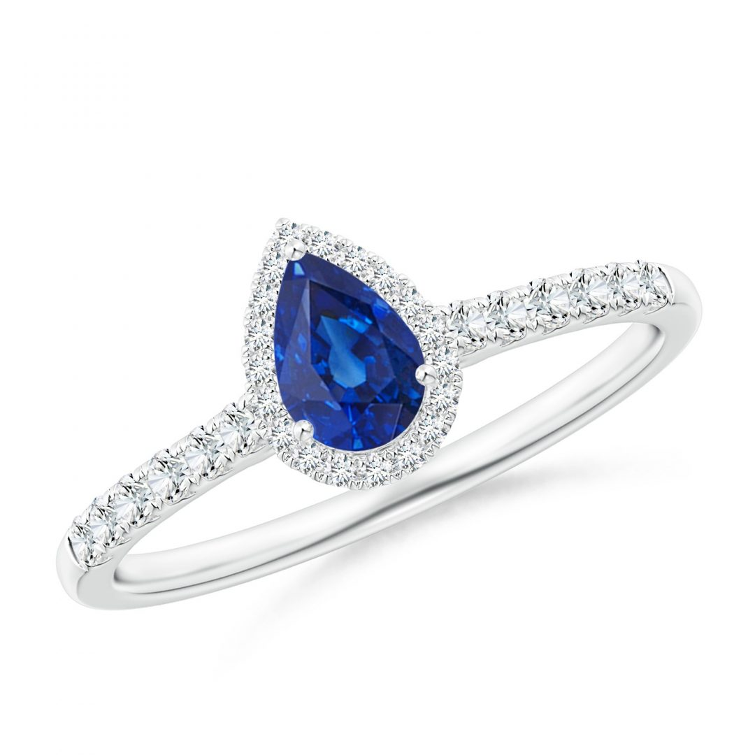 images of Diamond Sapphire Pear shape Halo Engagement Ring