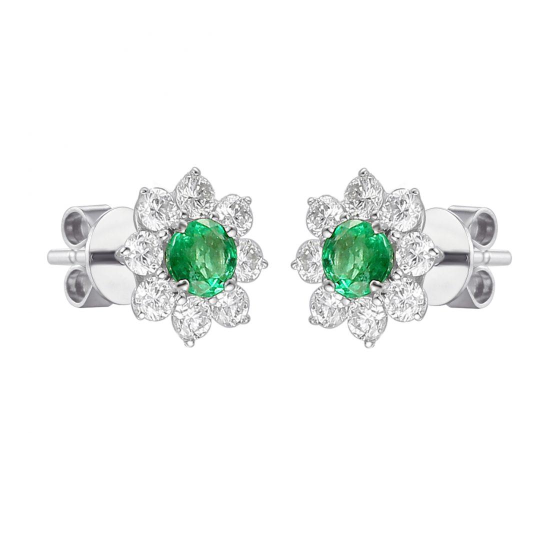 Emerald flower cluster microset diamond earrings