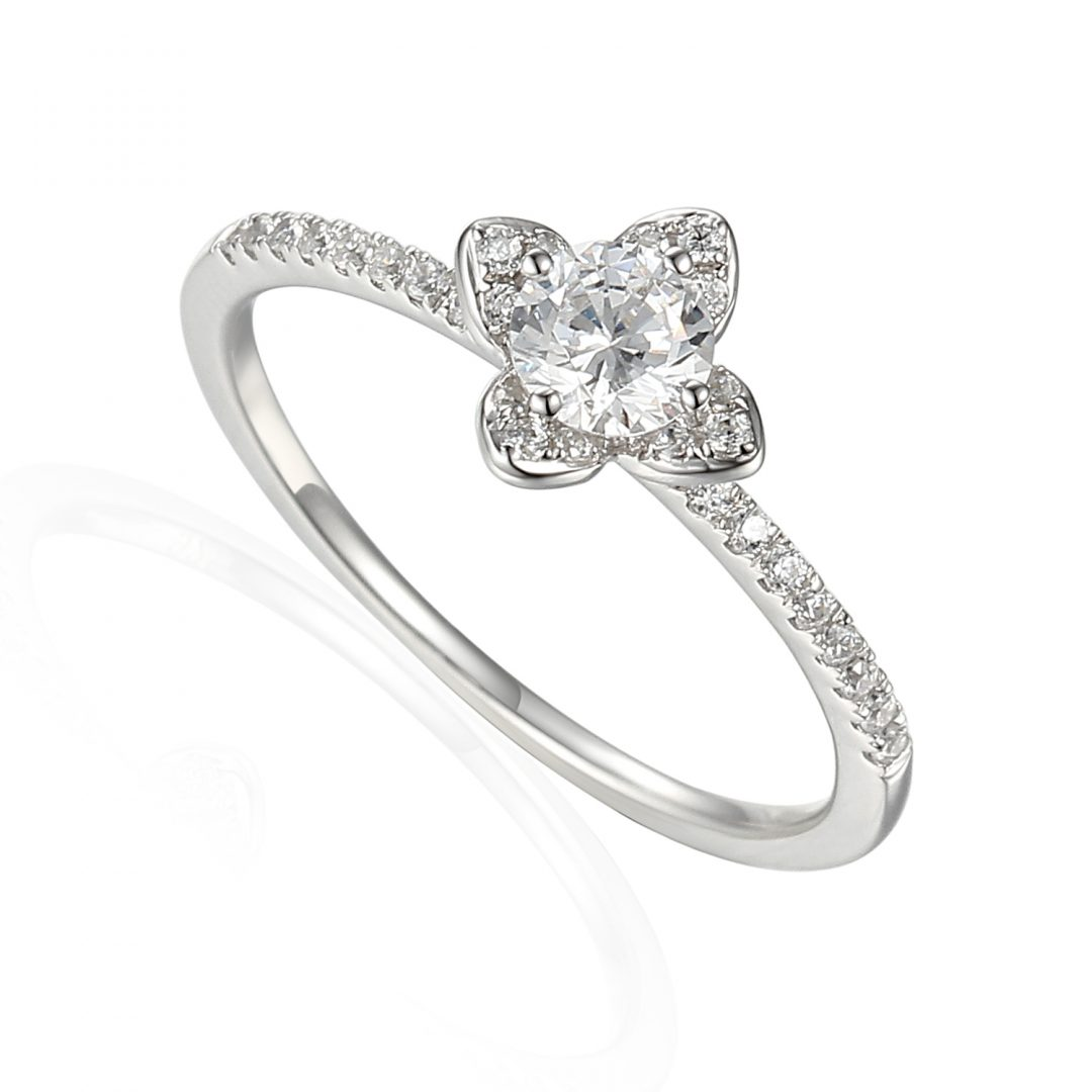 Flower Diamond Shoulder Engagement Ring