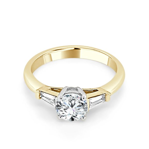 image of Jacquelyn Gold Diamond Trilogy Engagement Ring laying flat