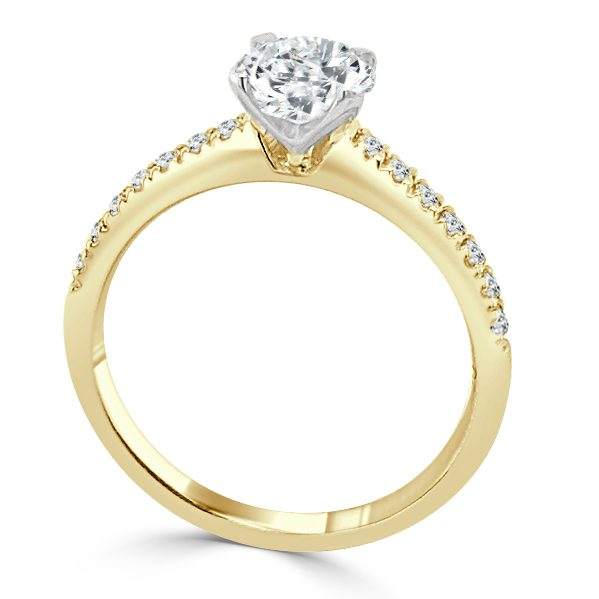 image of Kelly Diamond Shoulder Engagement Ring Gold