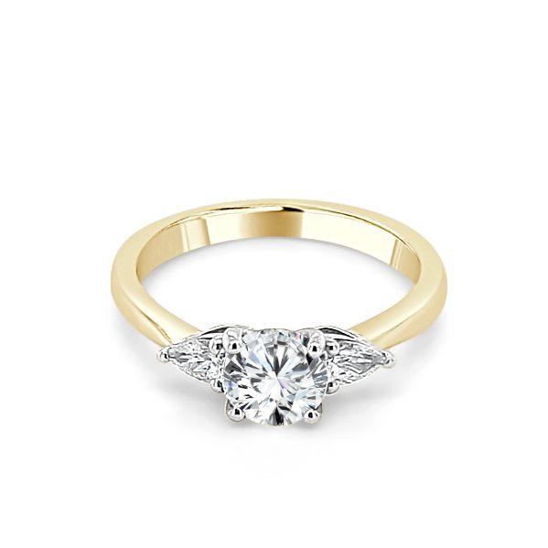 image of Odette Gold Diamond Trilogy Engagement Ring