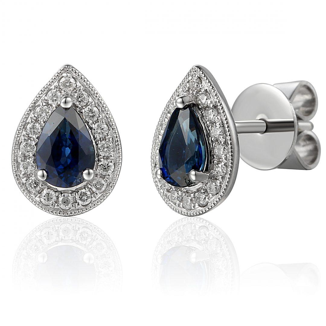 Pear halo diamond sapphire studs