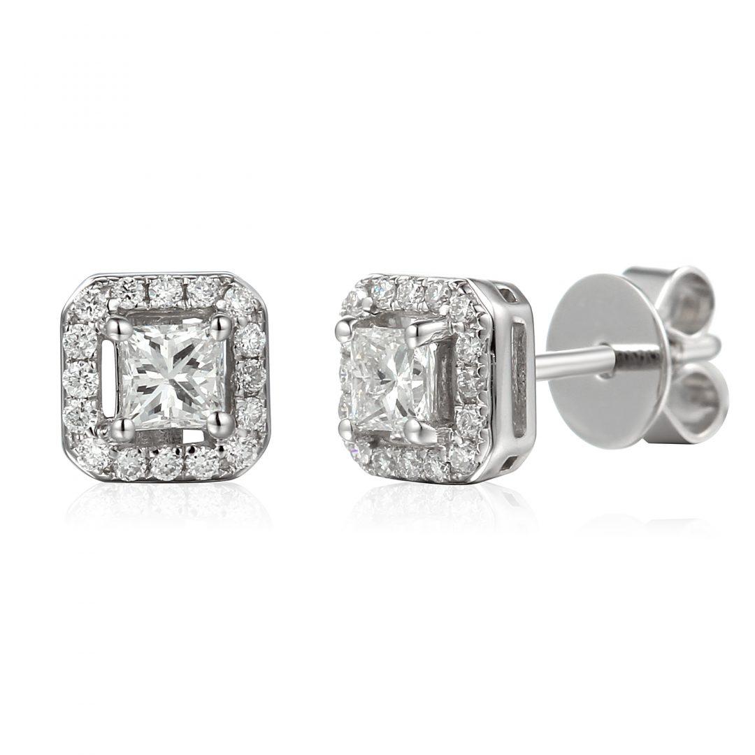Princess Diamond Halo Earrings