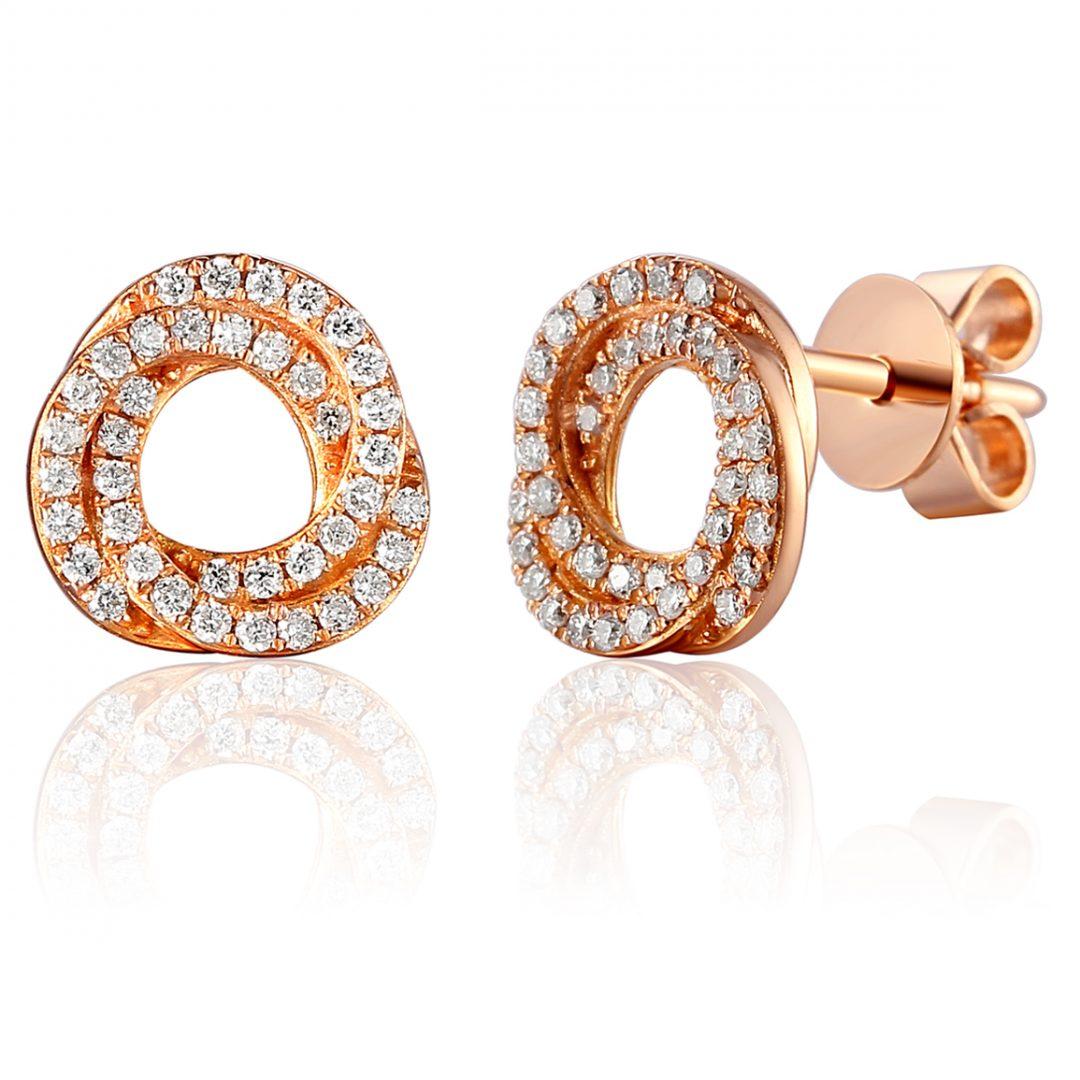 Rose gold cluster earring