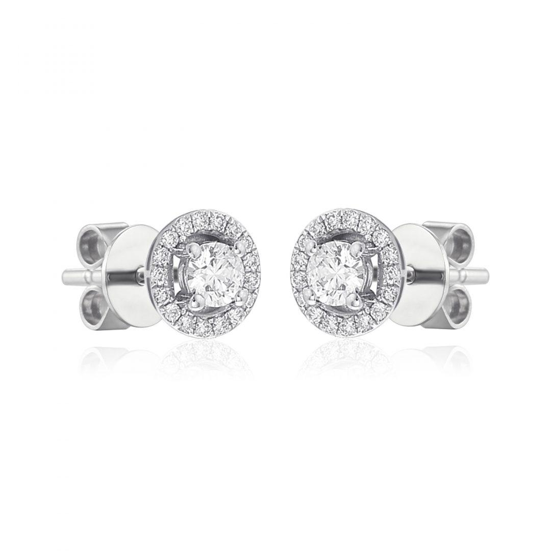 Round Microset diamond halo earrings