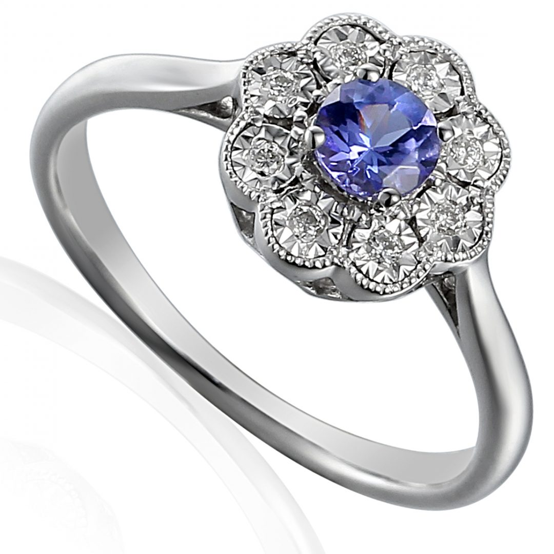 Sapphire halo stud engagement ring ring