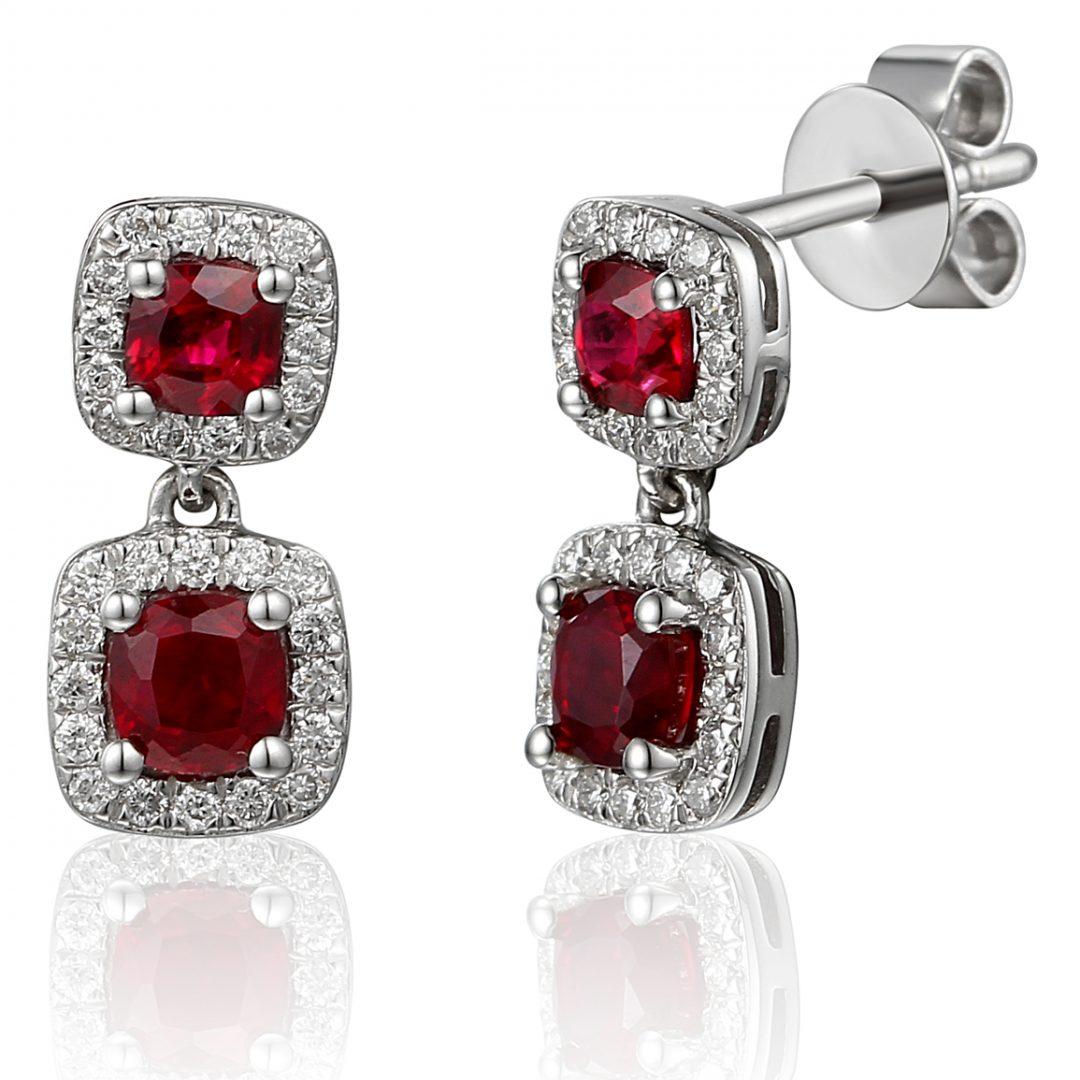 cushion cut Ruby drop earrings