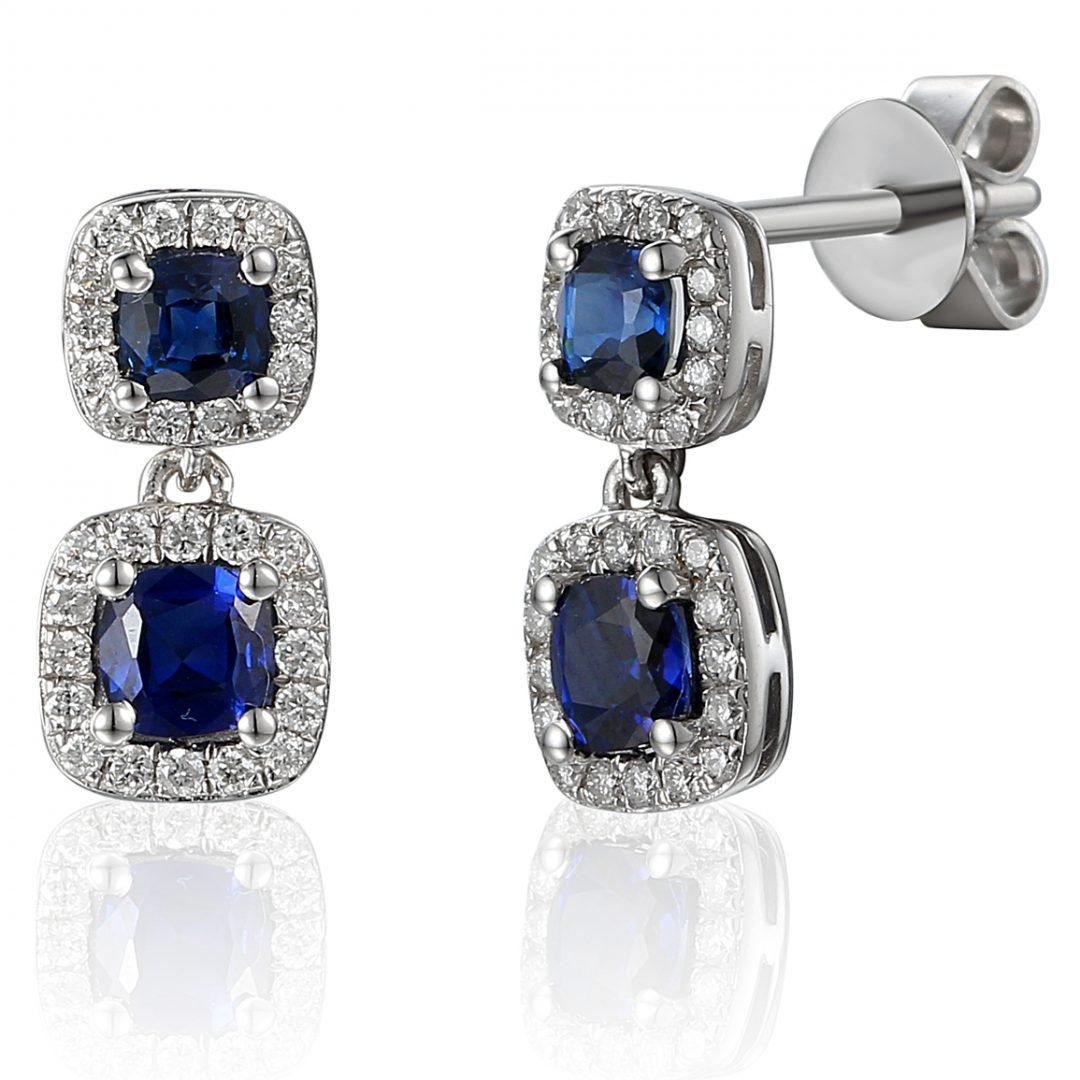 cushion cut sapphire drop diamond earrings