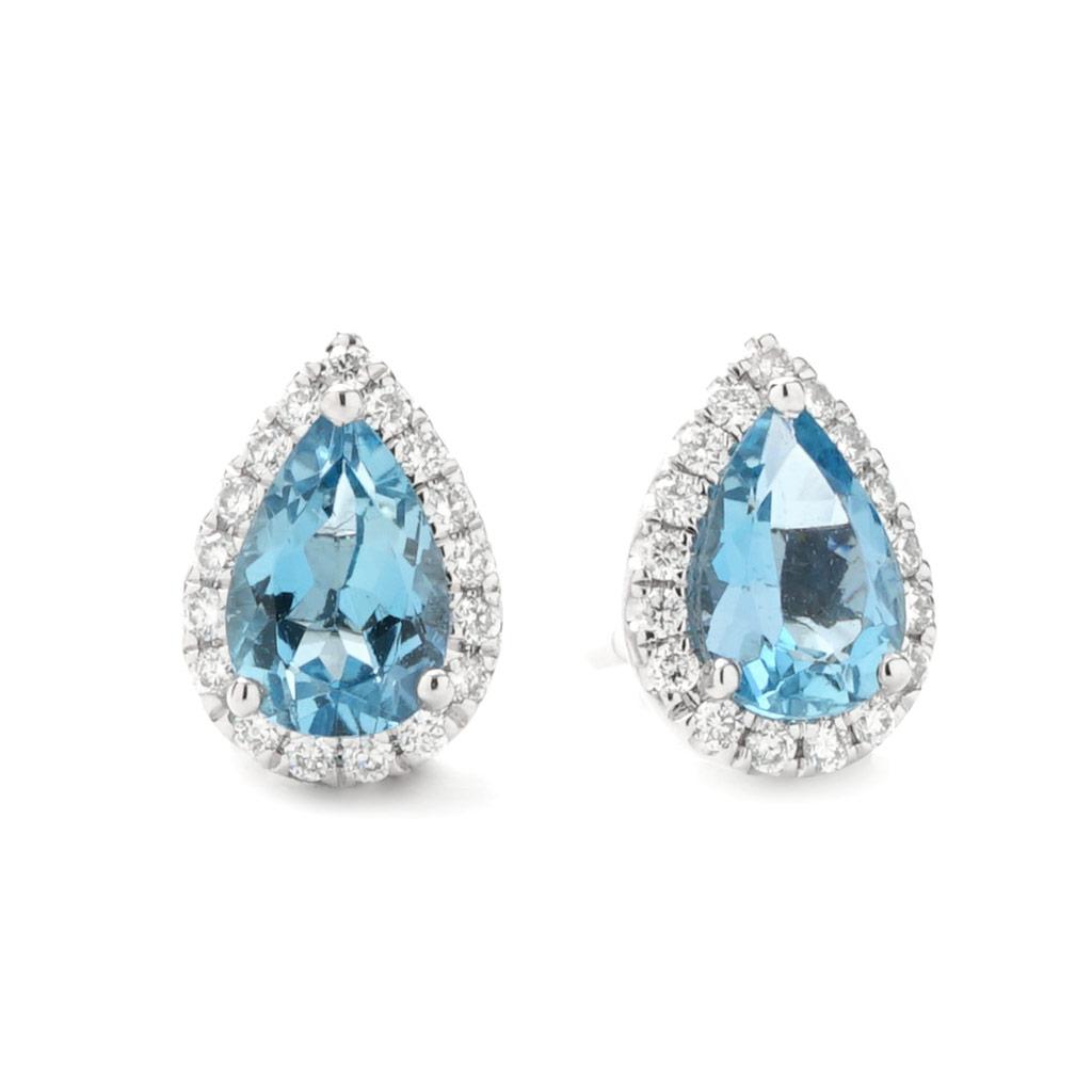 pear shaped aquamarine diamond halo stud earrings