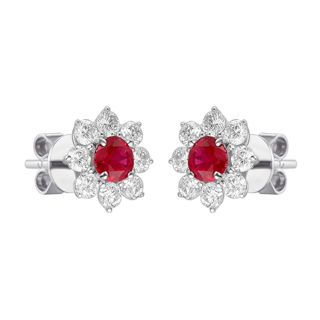 Ruby flower microset diamond earrings