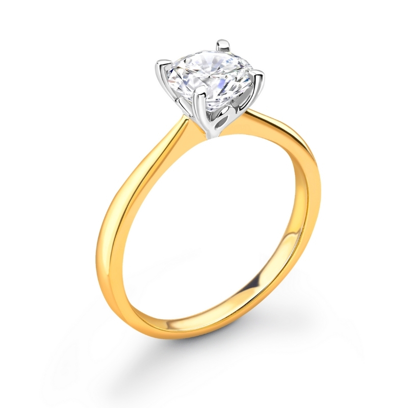 Gold lotus 1ct engagement ring