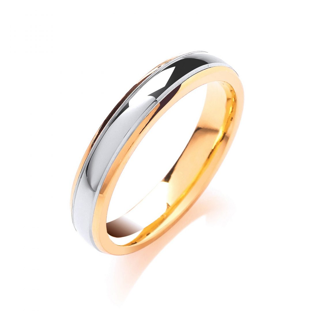 Court Track Edge Two Colour Wedding Band